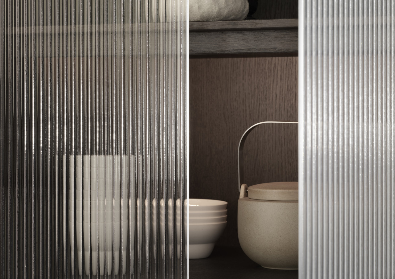 Vipp V2 reeded glass cabinet front