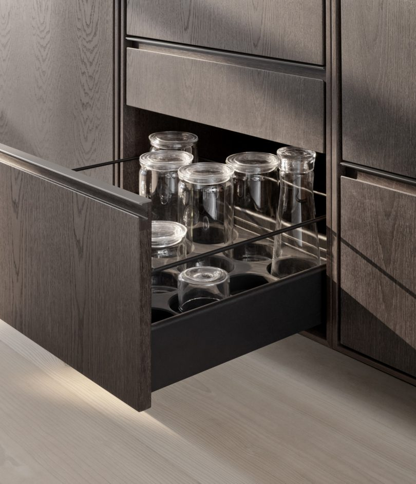 Vipp V2 open drawer with glasses