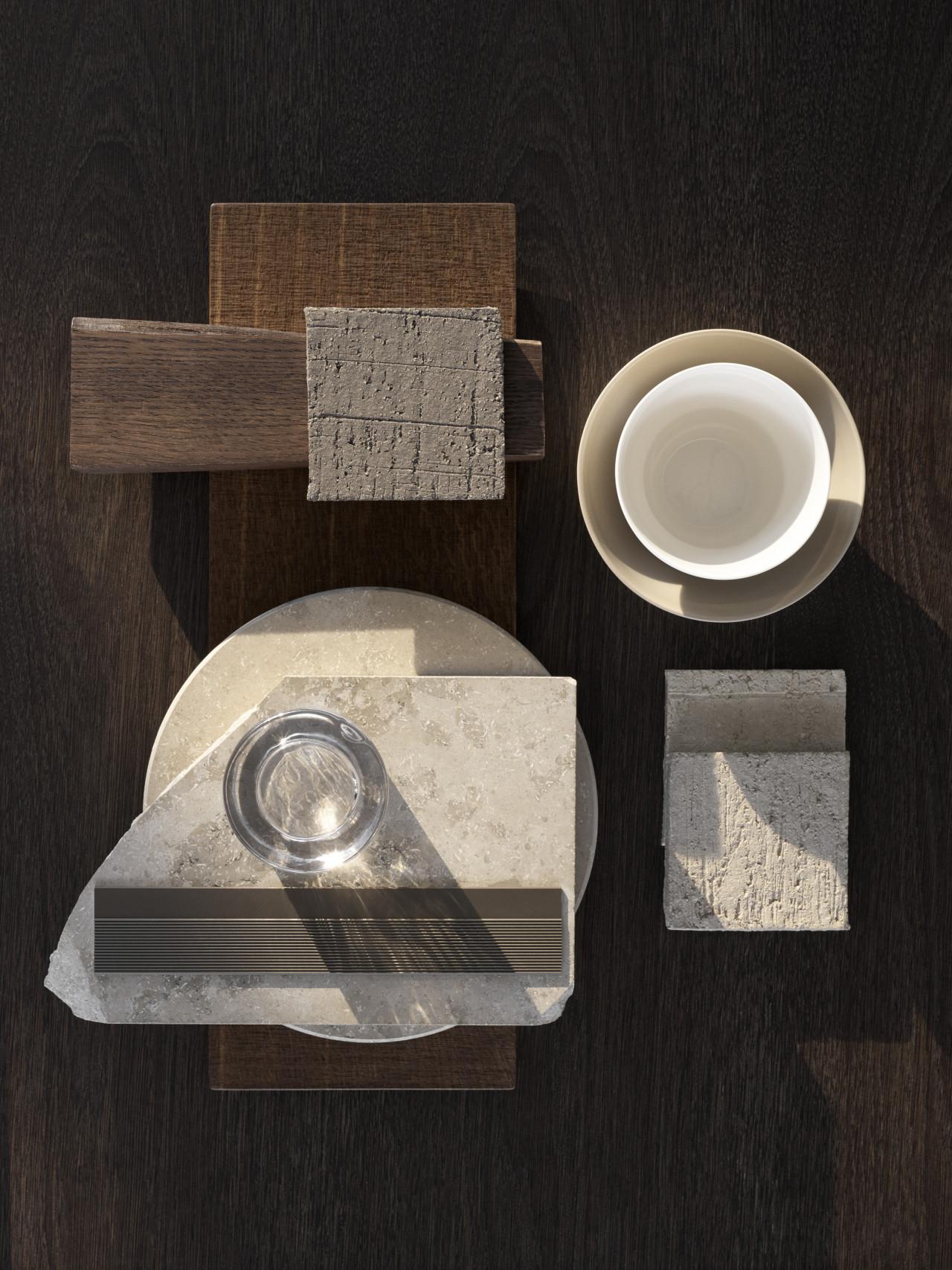 Material palette of Vipp V2 kitchen