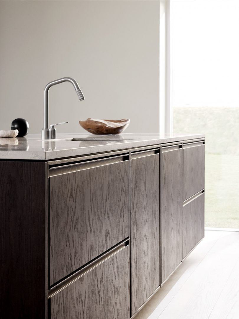 Vipp V2 stone and oak cabinet fronts