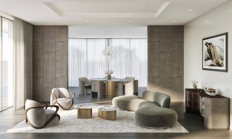 living space with sofa, ottoman, coffee table, two armchairs, dining table and dining chairs