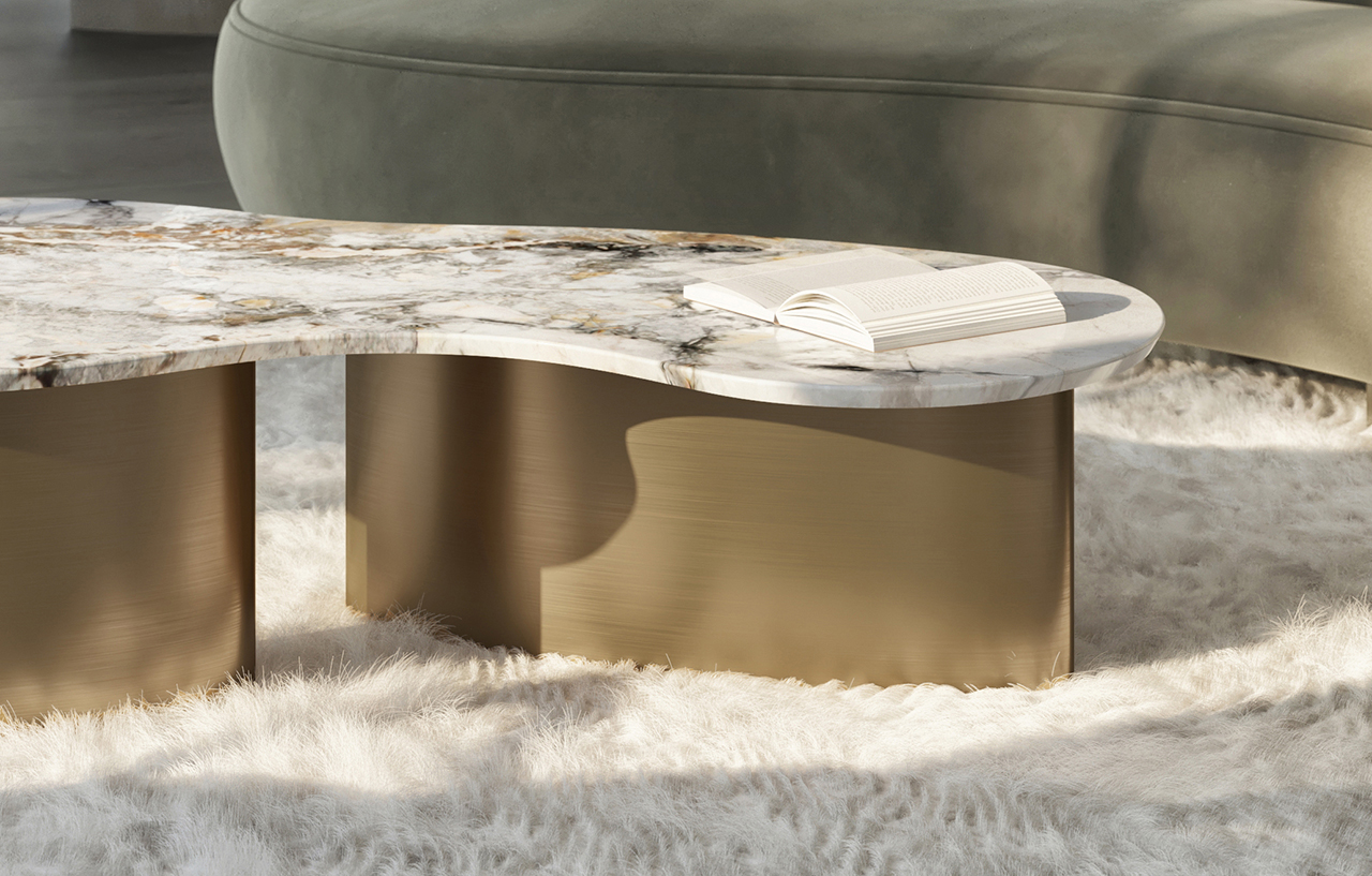 metal and marble coffee table on shaggy rug
