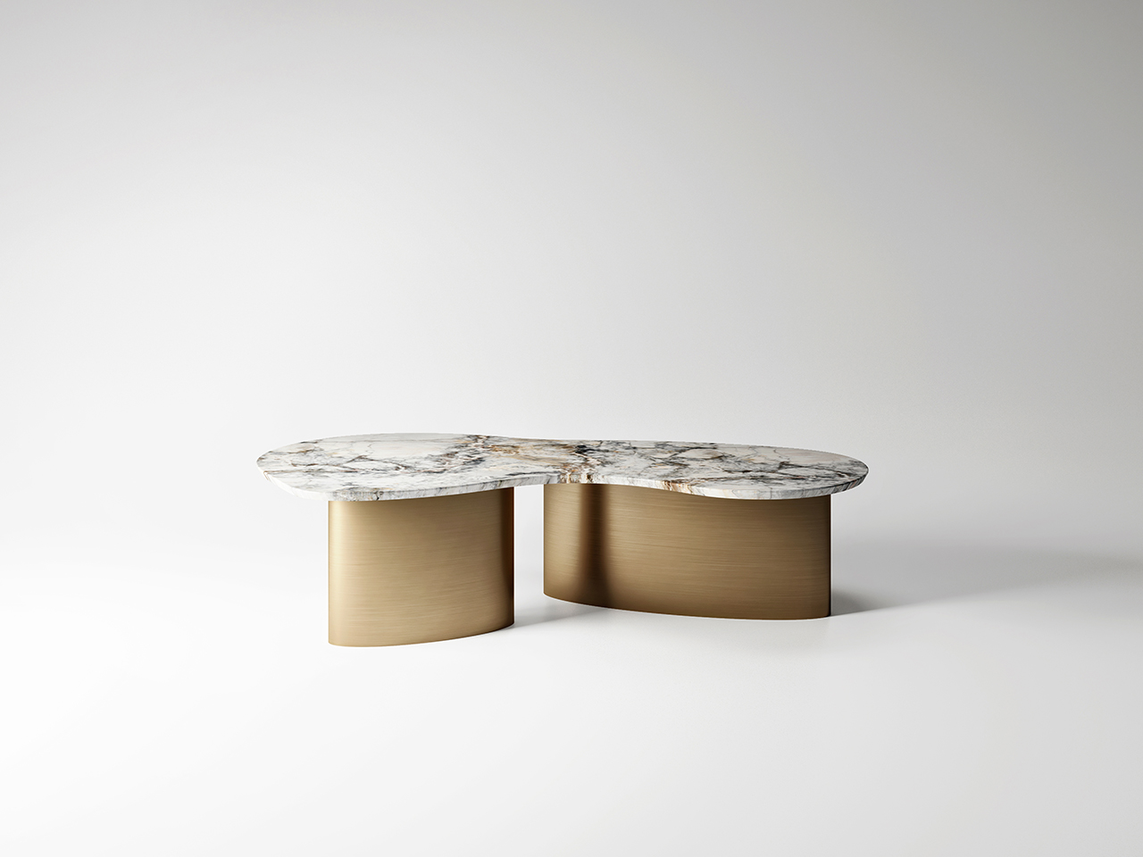 metal and marble coffee table on white background