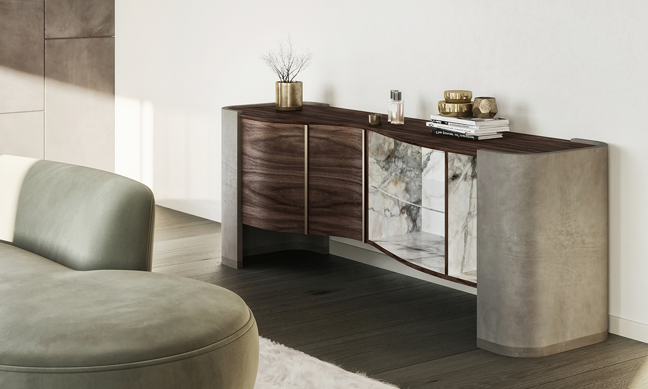 wood and marble credenza in living space