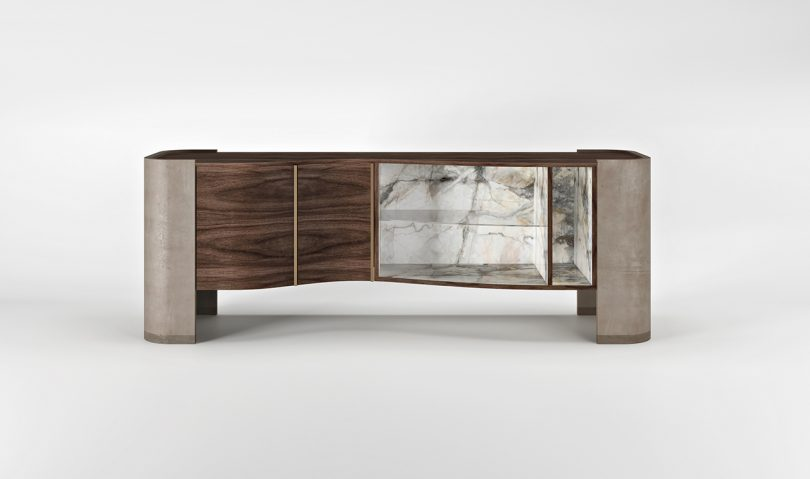 wood and marble credenza on white background