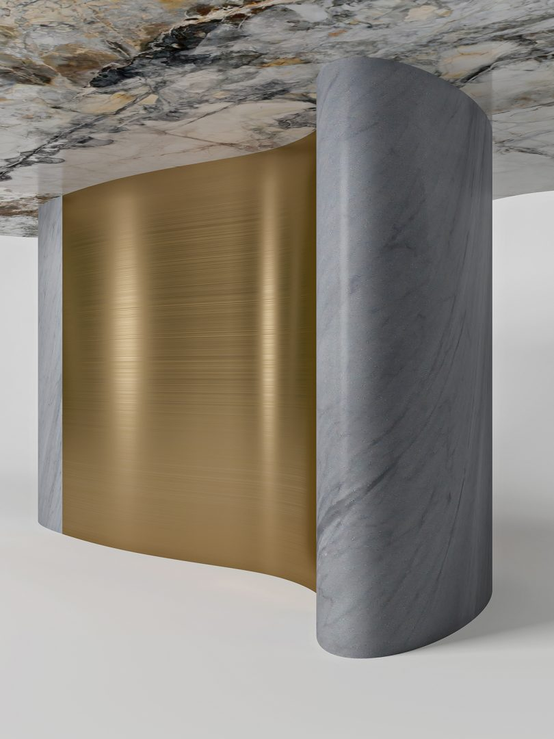 detail of metal and marble dining table