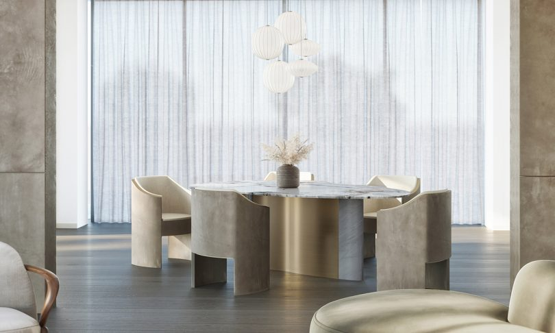 dining table and dining chairs with light fixture and white curtains
