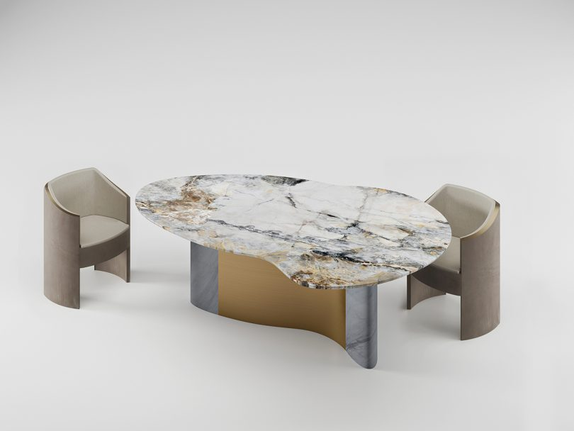 metal and marble dining table with two dining chairs on white background