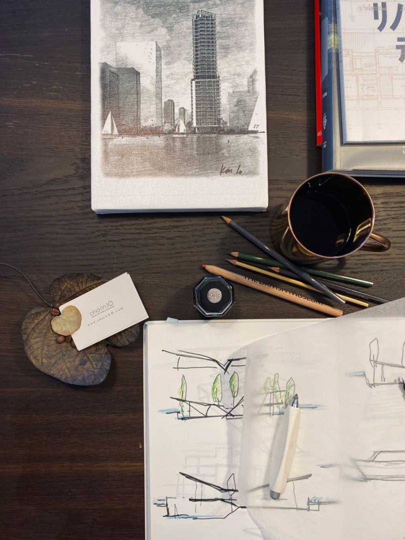 sketches and drawing utensils