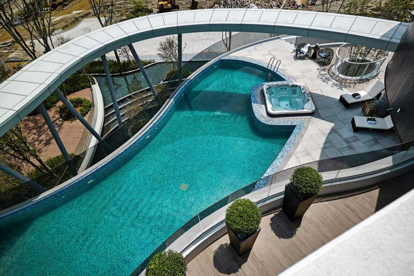 overlooking a pool