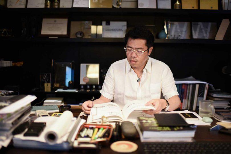 architect at his desk