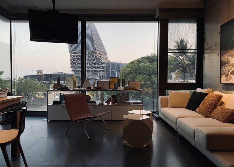 modern office overlooking harbor