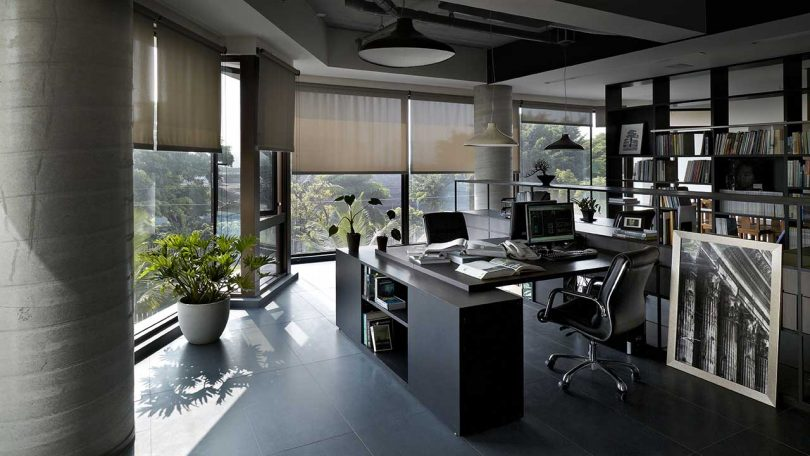 office interior with desks and windows