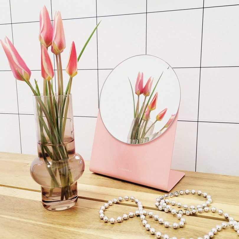 table mirror with pink base