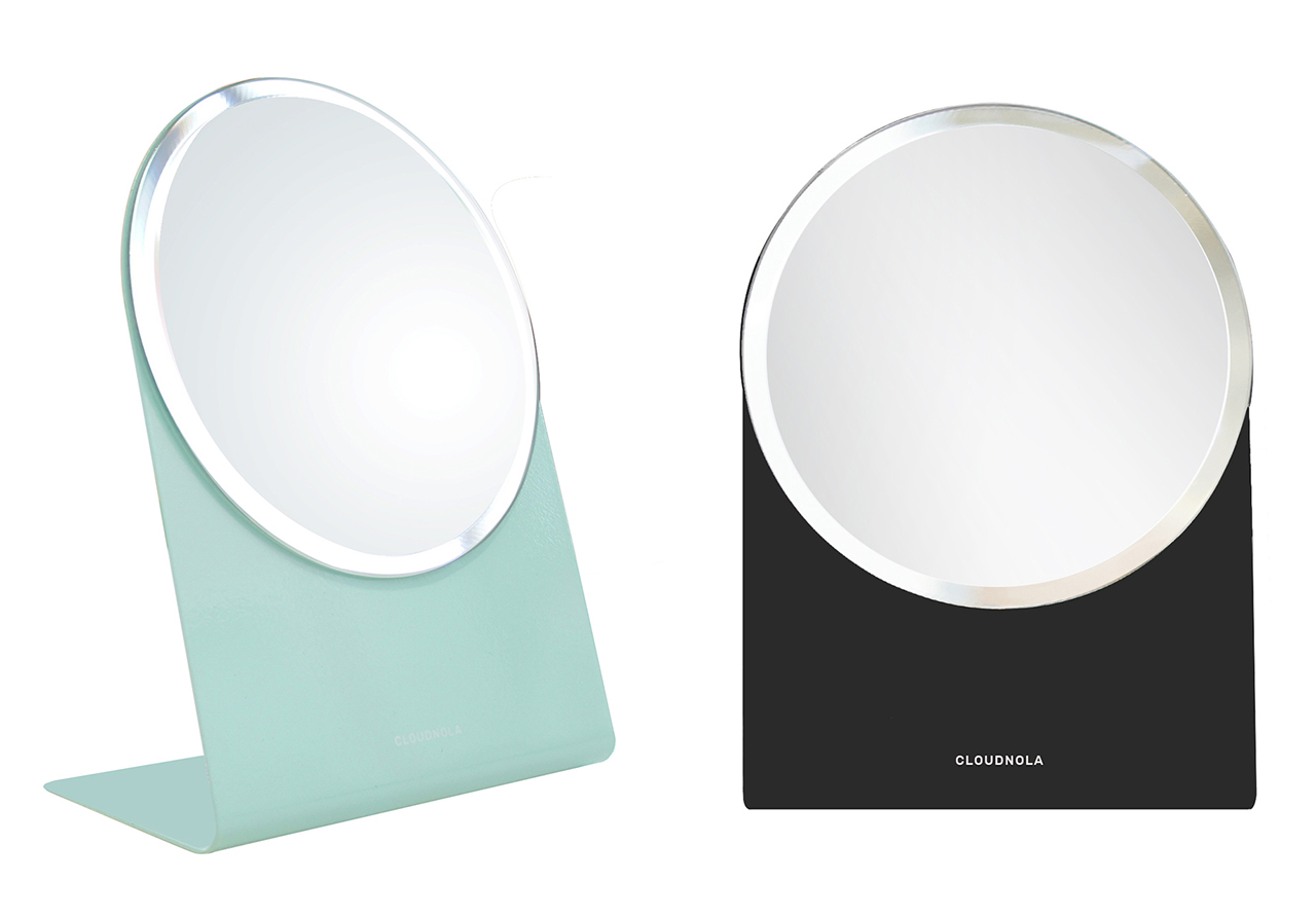 two table mirrors with turquoise and black bases