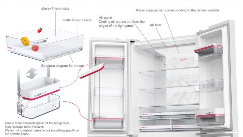 Karim Rashid KUSTOM modern refrigerator design interior details