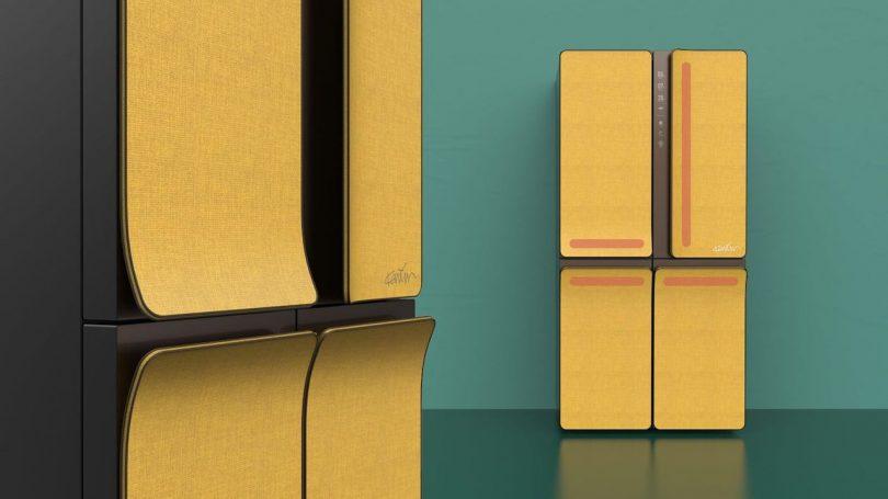 Karim Rashid KUSTOM modern refrigerator design in yellow