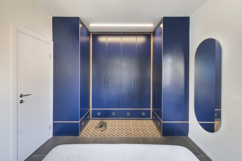main bedroom with blue closet