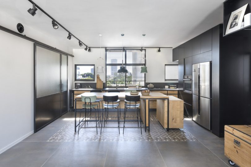 modern kitchen with removable storage island