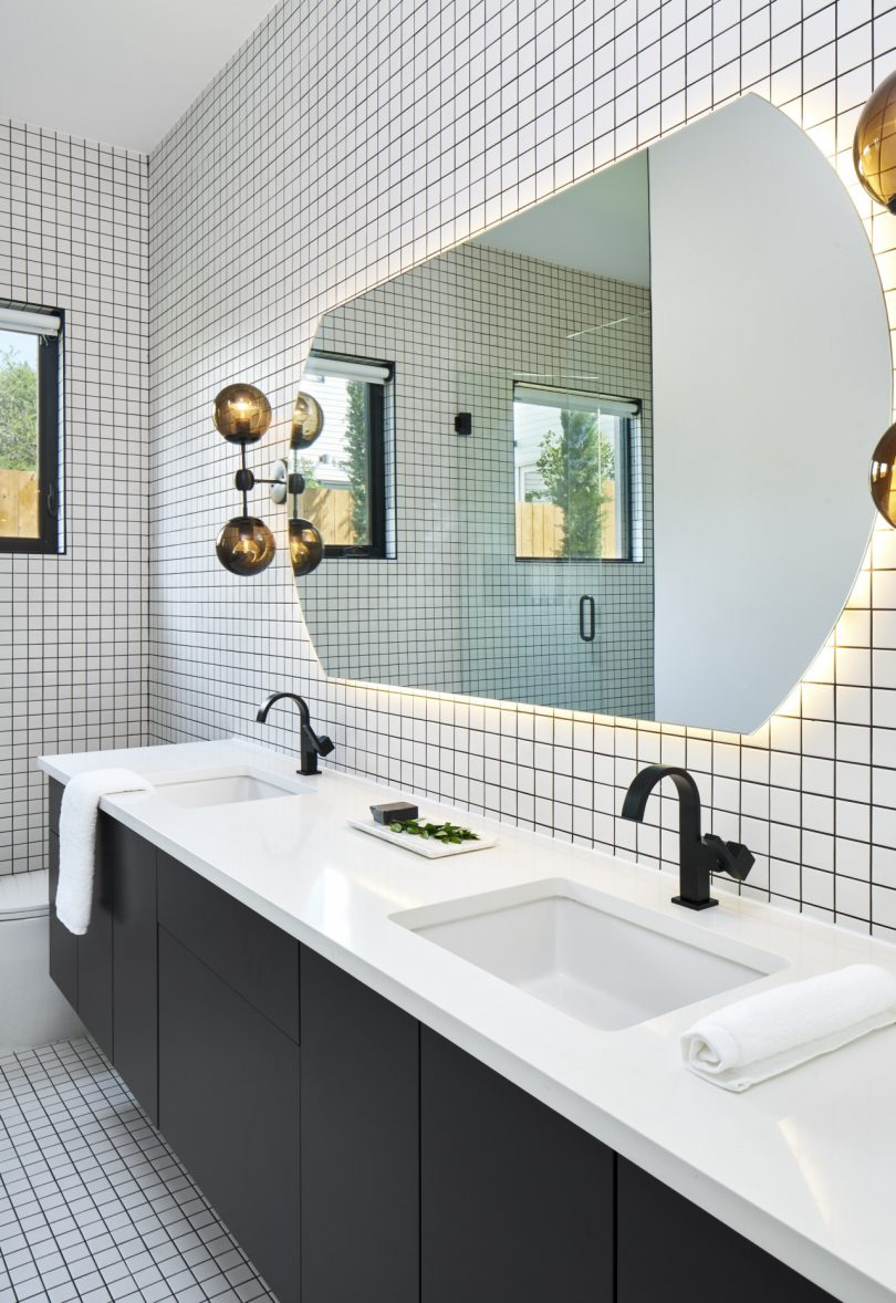 modern bathroom with square tiles
