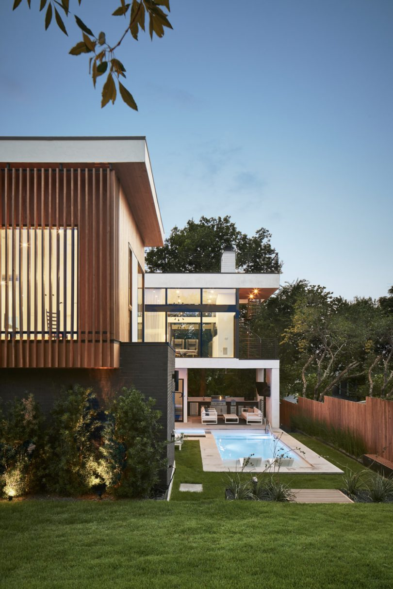 Glass house with pool