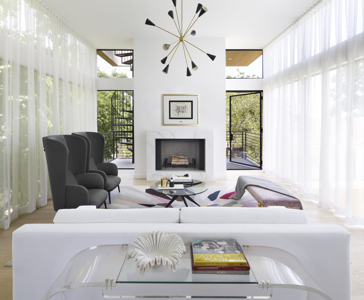 White living room with modern furniture