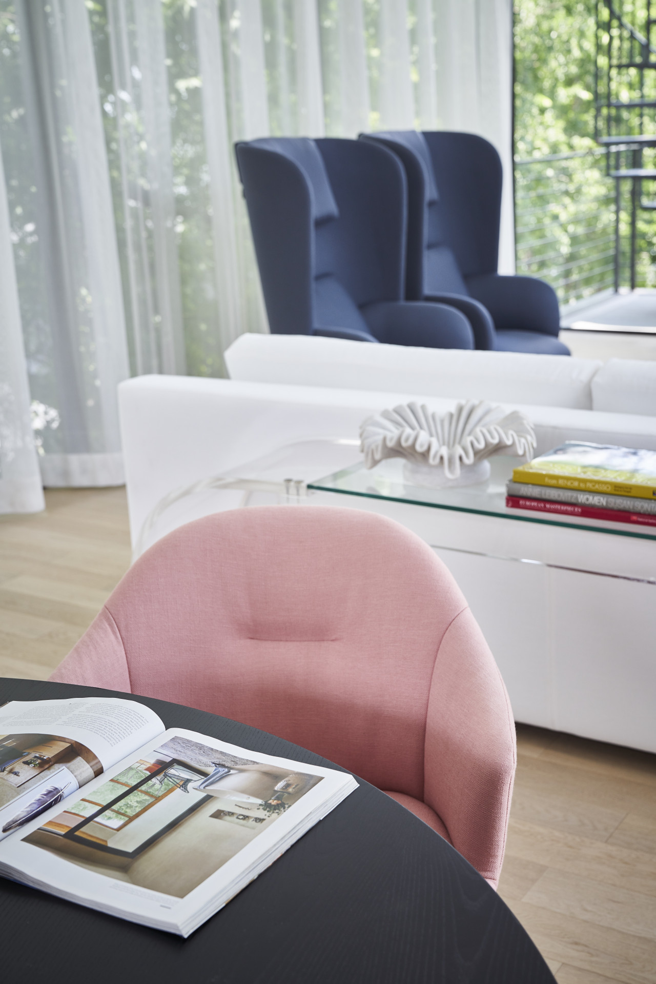 Pink chair in living room