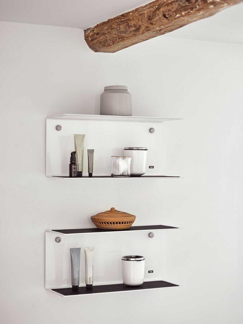 modern white shelves in bathroom