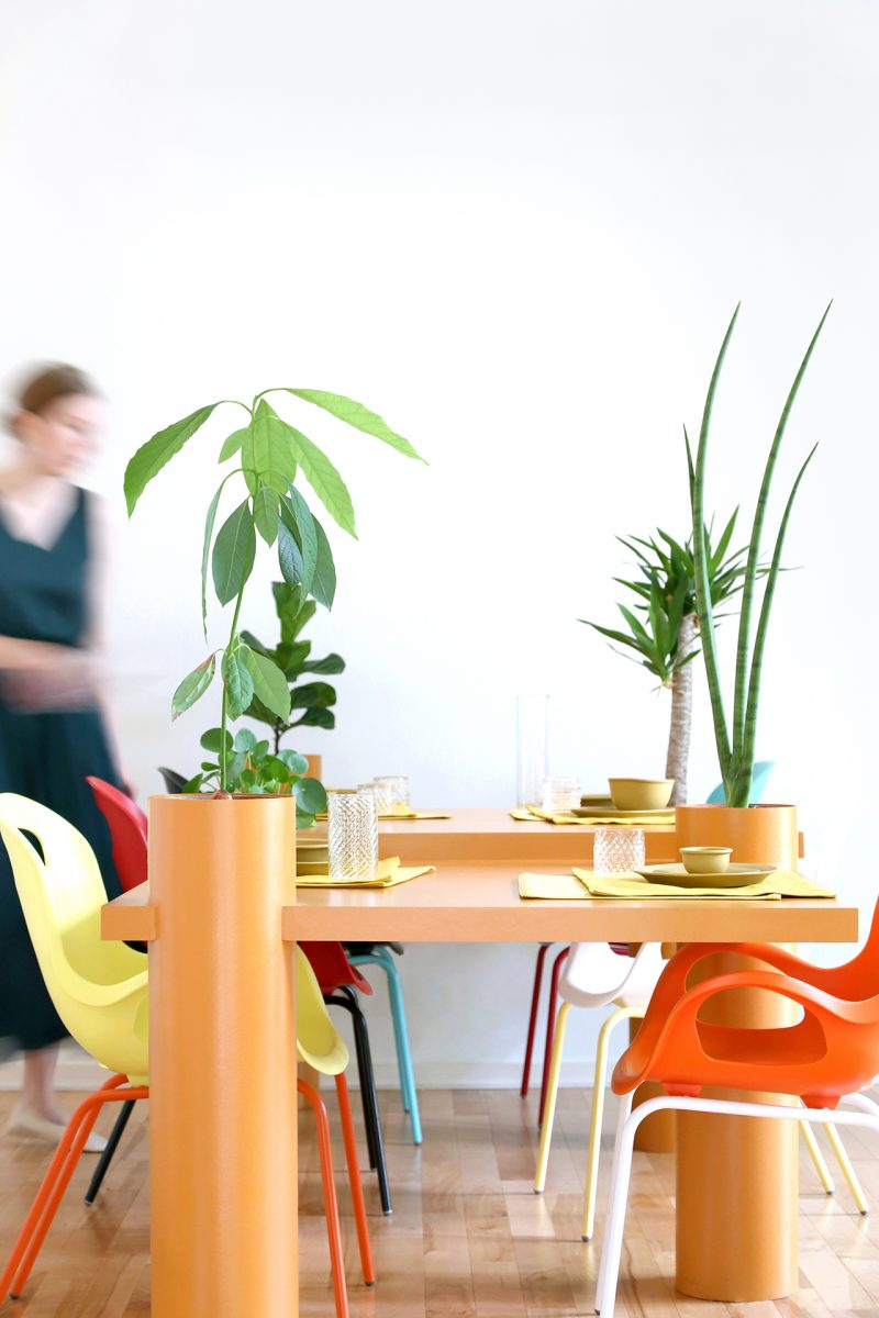 orange sculptural table with plants being set for meal