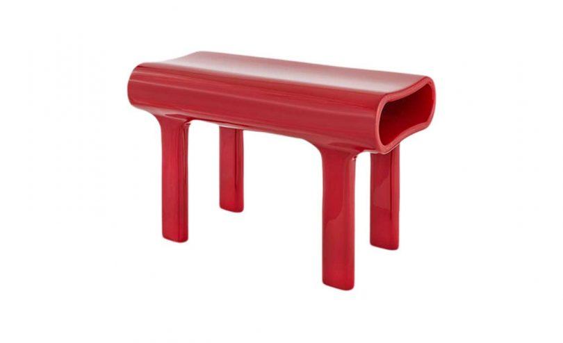 modernist red bench
