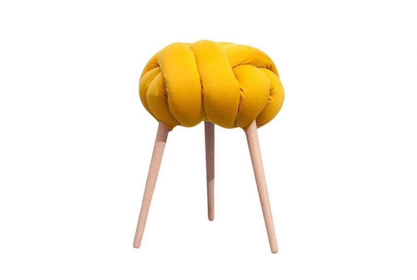 stool with yellow knotted seat