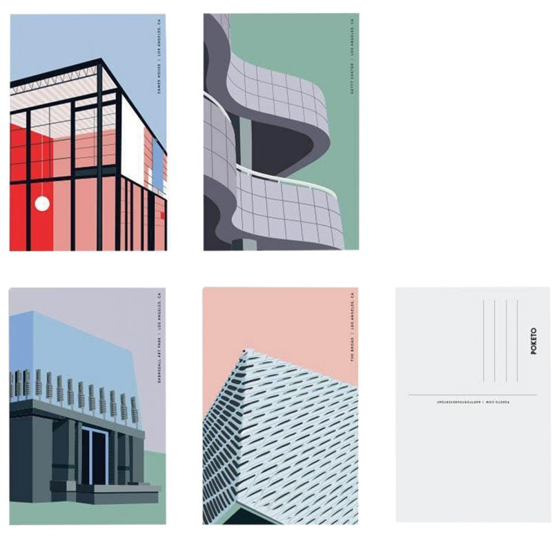 five postcards featuring illustrations of buildings on white background