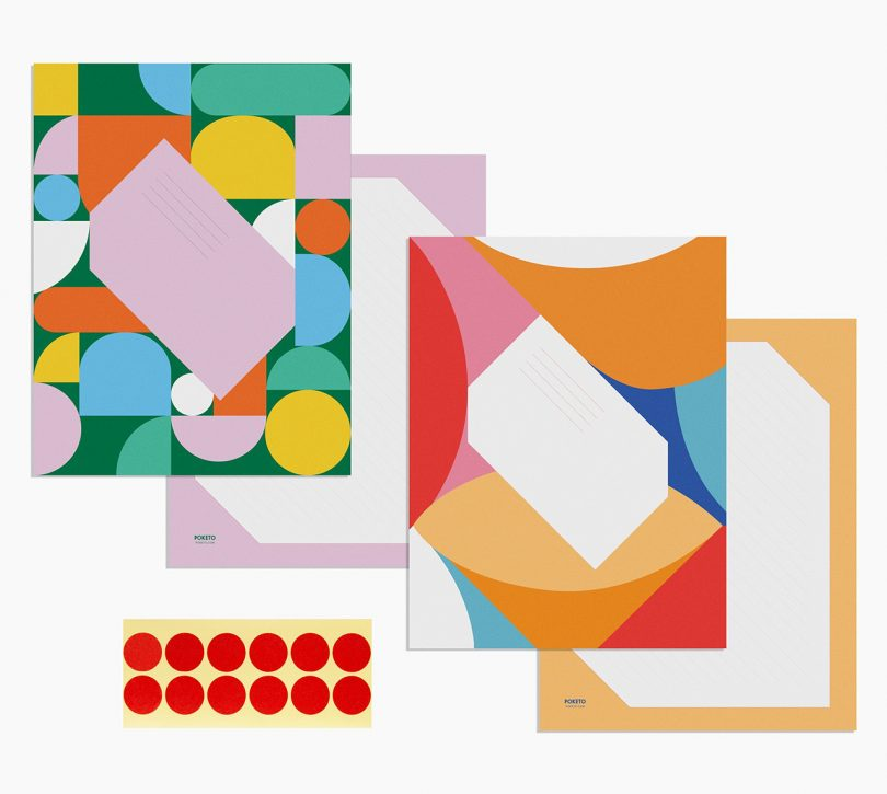 colorful geometric stationery on white background