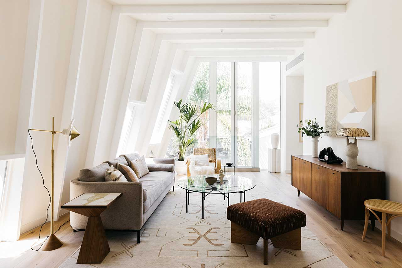 modern living room with white walls and ceiling