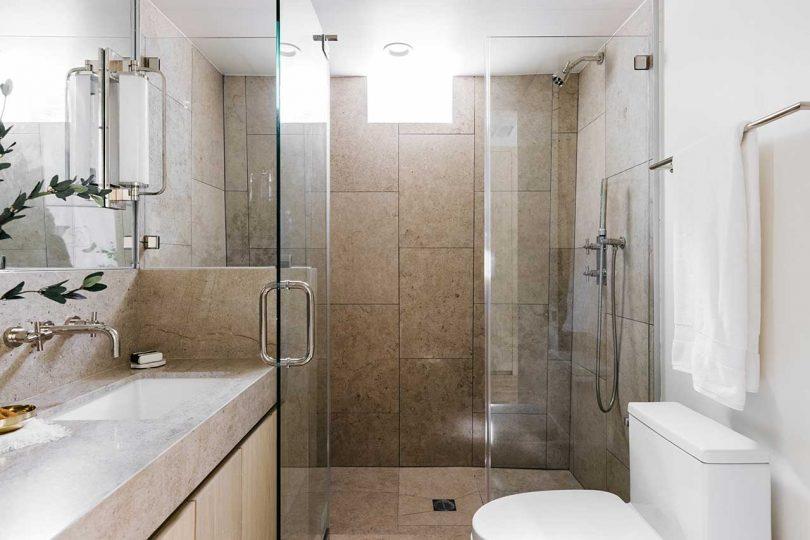 modern bathroom with beige tile