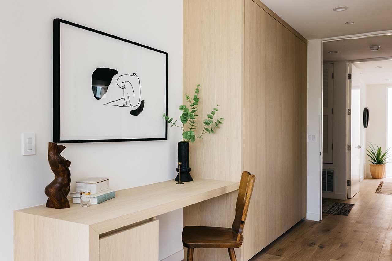 built-in desk in modern space