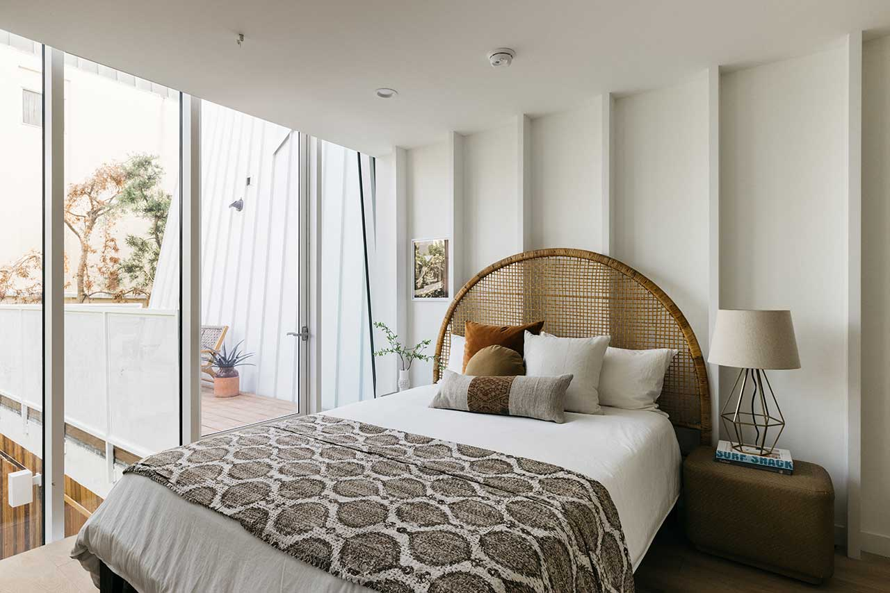 modern bedroom with curved walls
