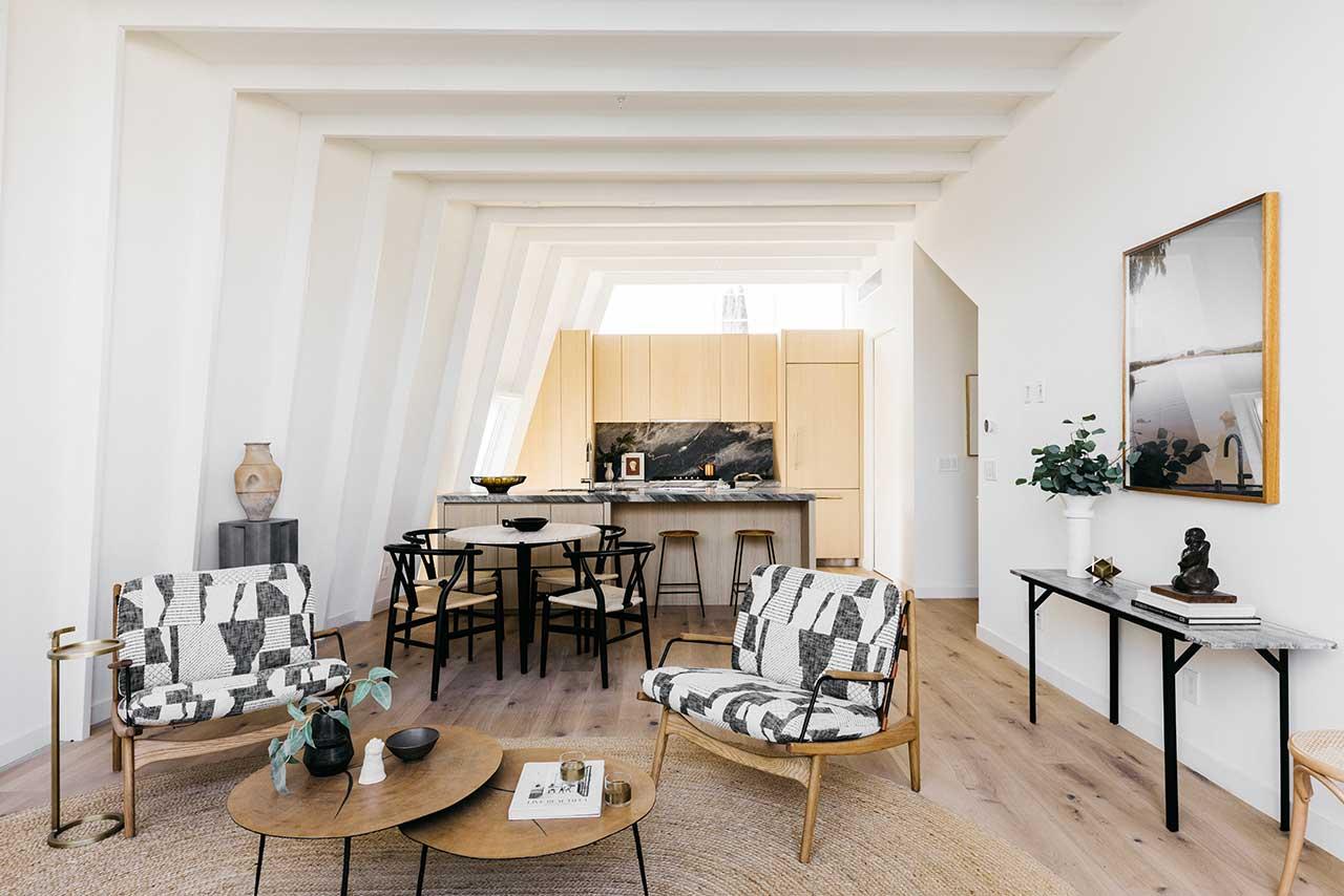 modern living space with open floor plan