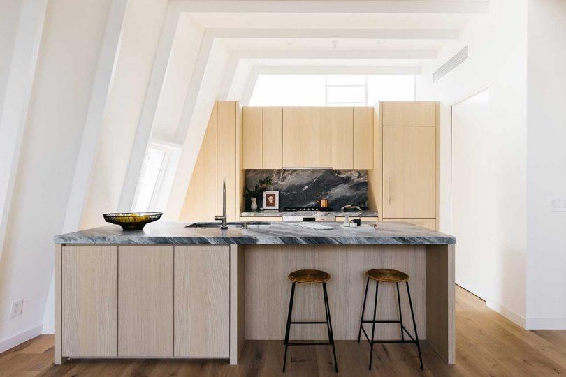 modern kitchen with dark countertops