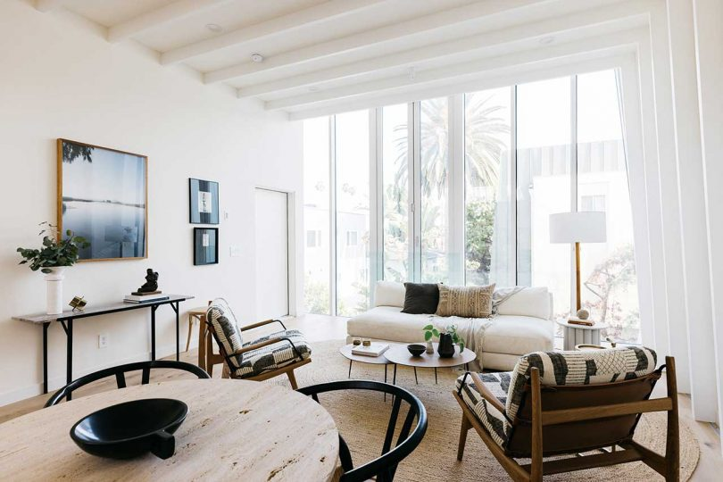 modern living room with curved walls