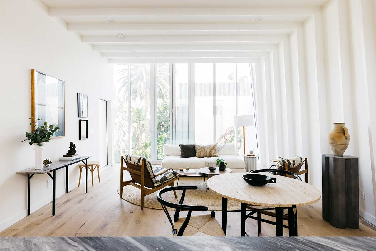 modern white living room with furnishings