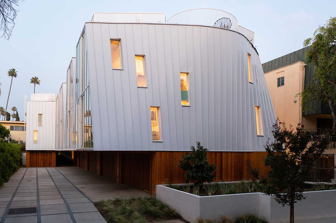 curved metal exterior of house