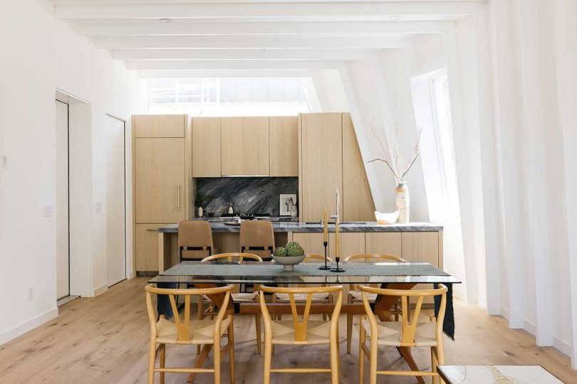 kitchen and dining area in modern white home
