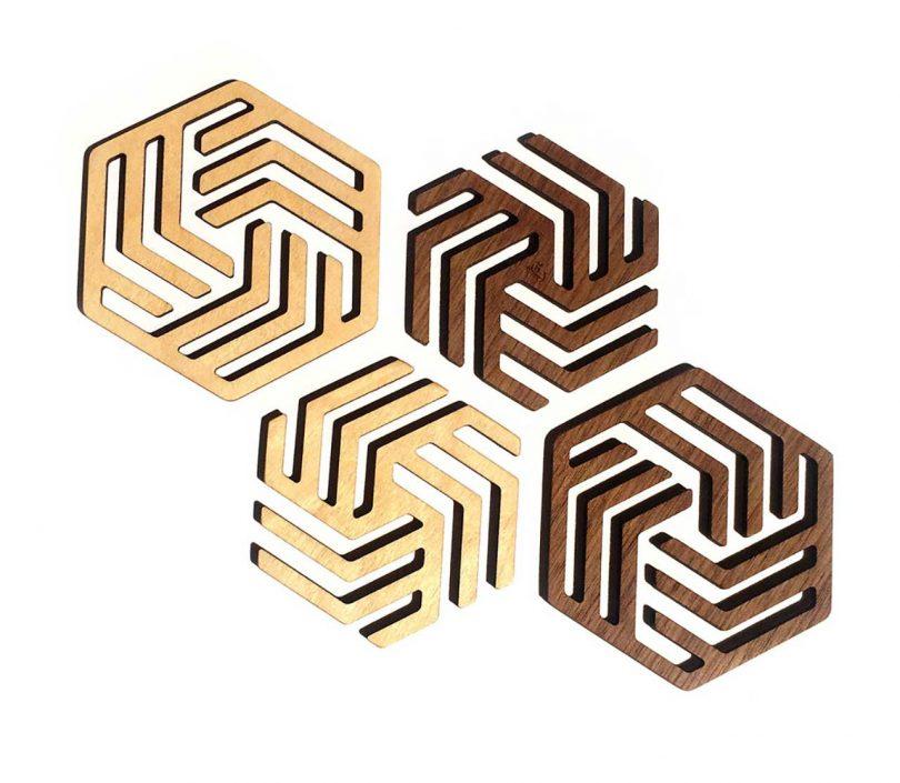 hex wooden coasters