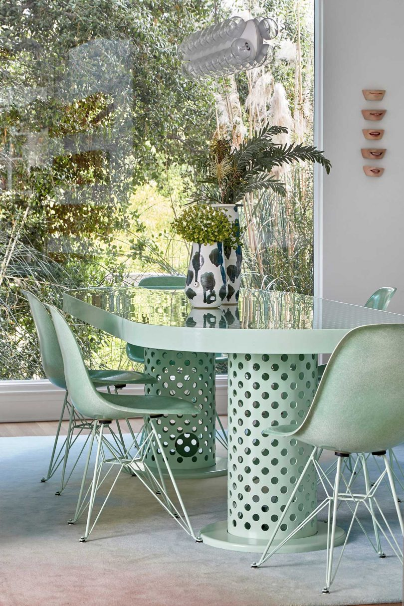 eating area with pale green table and chairs