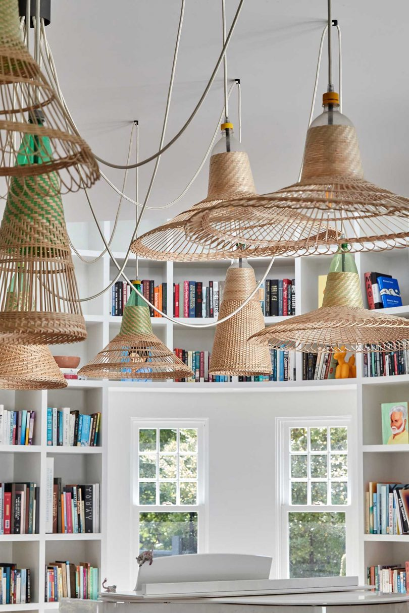 library room with woven pendants