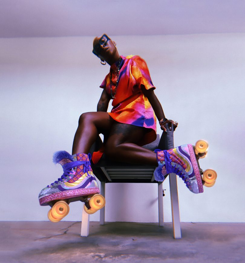 Cynthia Erivo, actress and artist with roller skates.