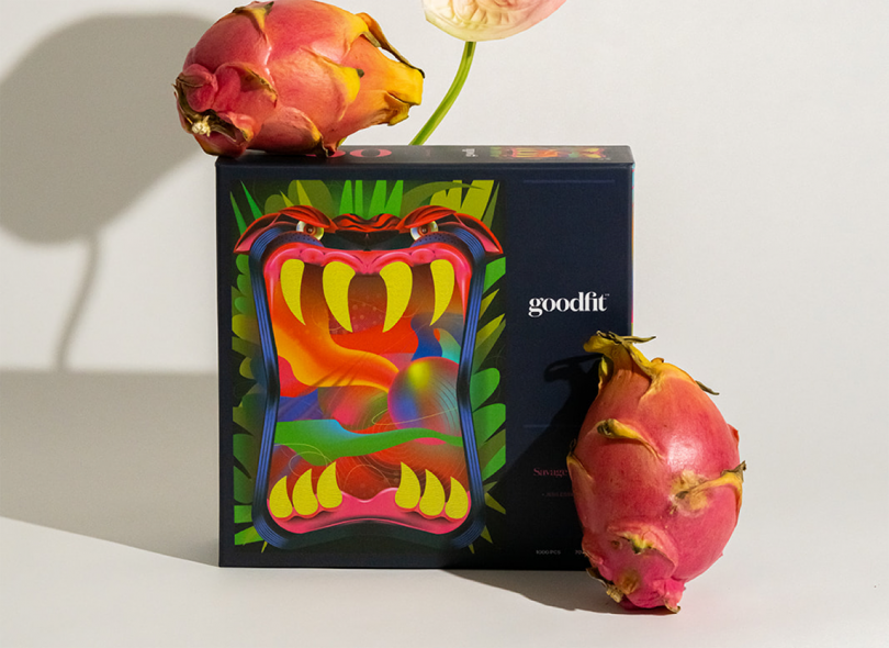 puzzle box with dragon fruit on white background