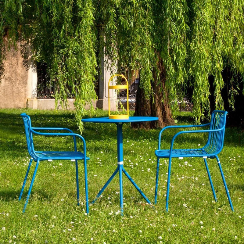 blue bistro set outdoors