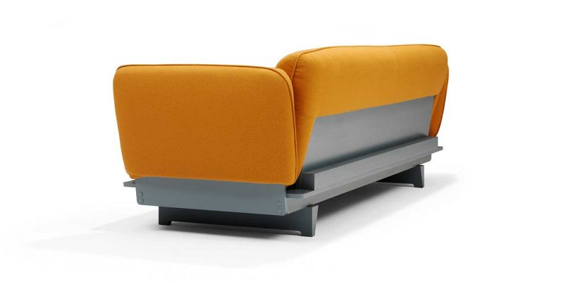 FLOAT SOFA in ocre fabric with blue base